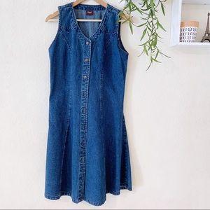 Vintage BAT denim midi button down jean dress